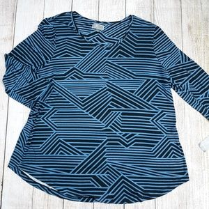 JM Collection Oversize Blue Strips NWT